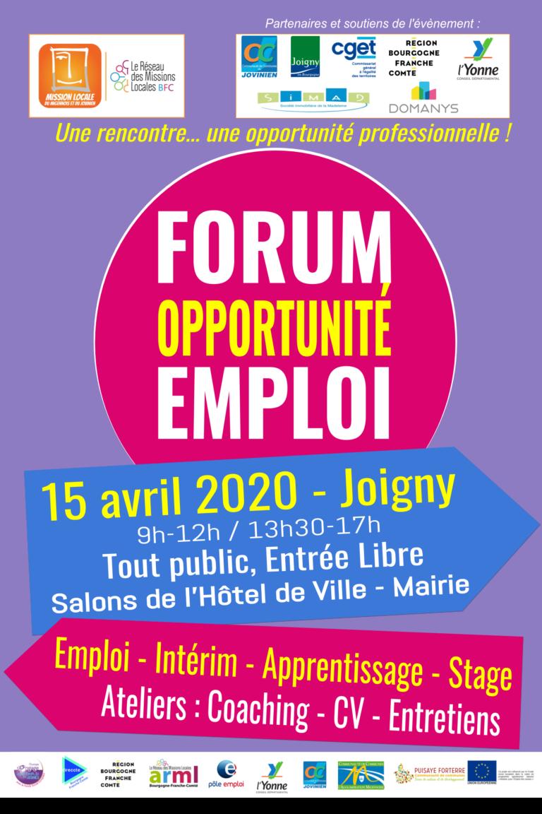 Affiche Forum Emploi Orientation du Jovinien 2020