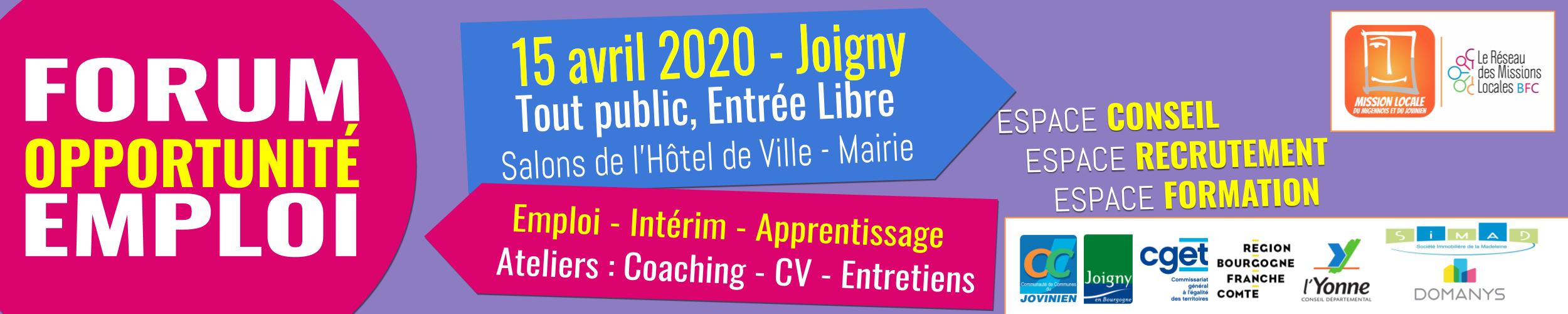 Banderole Forum Emploi Forum Jovinien 2020