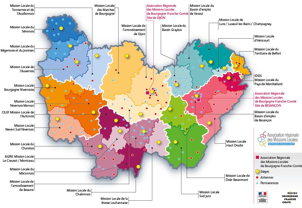 Carte du réseau des Missions Locales BFC